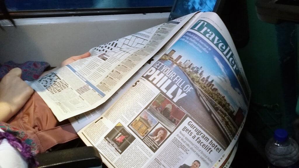 シャターブディー急行の客席に置いてあった新聞